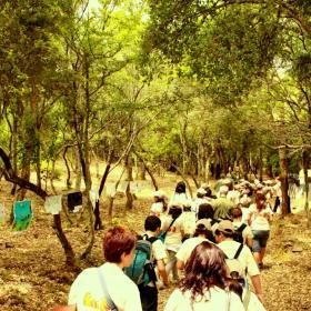 Scolaresche nel sentiero lungo il bosco