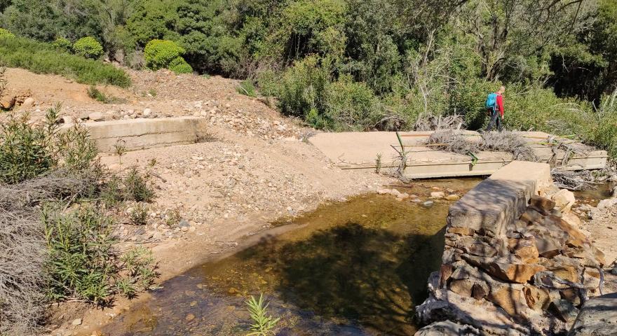 Devastanti effetti dell'alluvione del Rio Guttureddu, ponte presso Baccu Sfundau